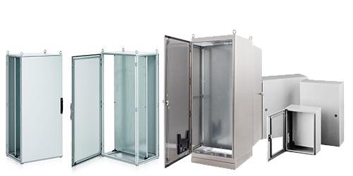 Modulares Schaltschrank-System, Wandanbau-Gehäuse in Stahlblech/Edelstahl, Kundenspezifische Schaltschränke / Gehäuse, LED-Schaltschrankleuchten etc.