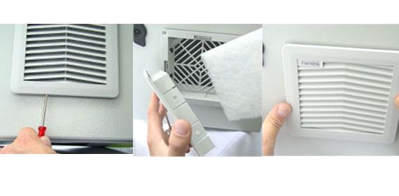 Einfacher, bedienerfreundlicher Filtermatten-Wechsel ist gewährleistet.