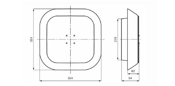 ussenabmessungen von 325 x 325 x 97 mm