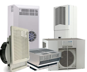 Schaltschrank-Klimatisierung wie z.B. Filterlüfter, Schaltschrank-Kühlgeräte und Wärmetauschern