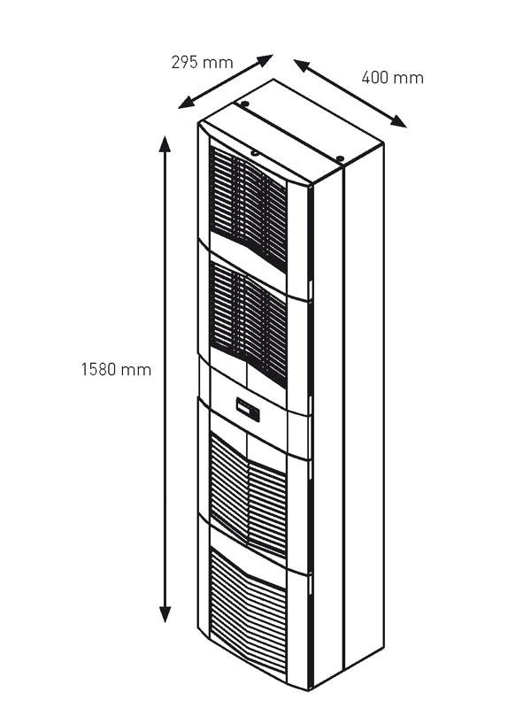 Abmessungen des Schaltschrank-Kühlgerätes SPECTRACOOL SLIM FIT 2000 Watt