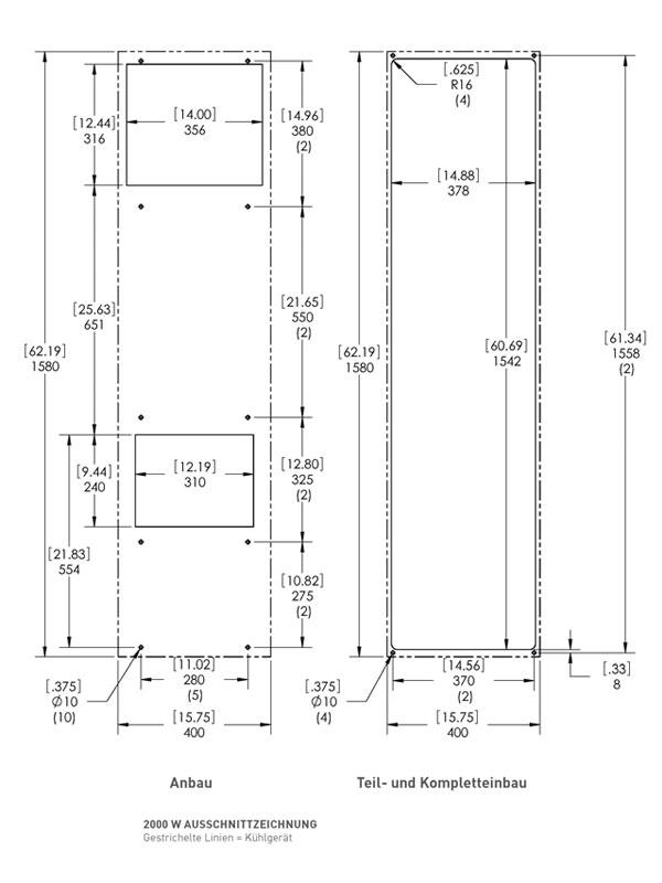 Ausschnittszeichnung zu Schaltschrank-Kühlgerät SPECTRACOOL SLIM FIT 2000 Watt