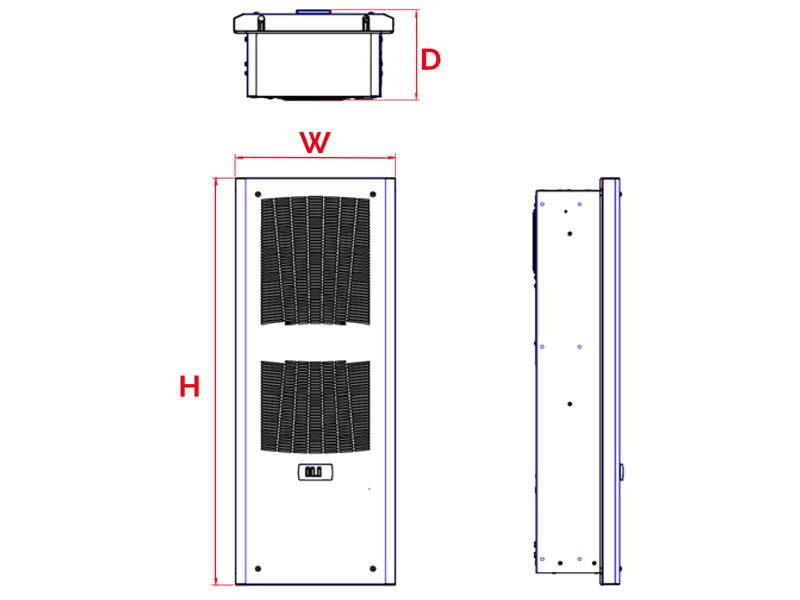 Schaltschrank-Kühlgeräte SLIM IN bis 1150 W Abmessungen
