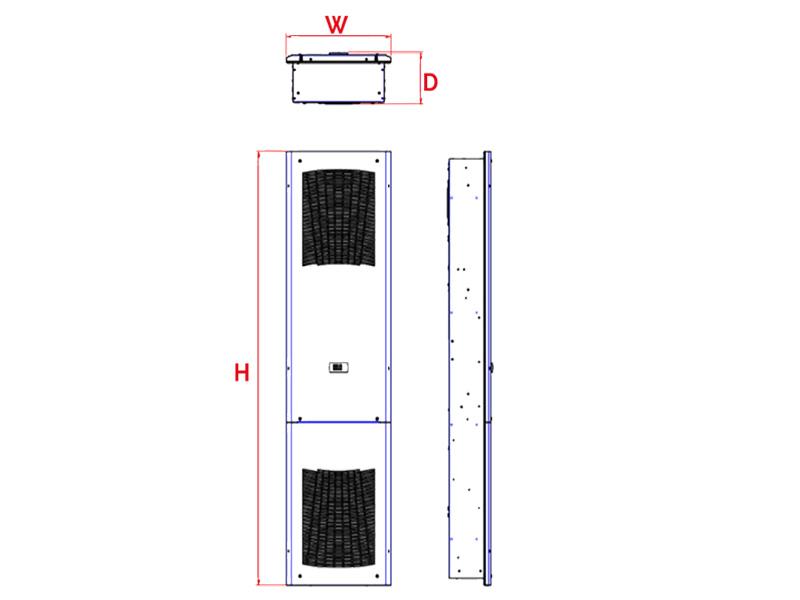 Schaltschrank-Kühlgerät SLIM IN bis 1500 W Abmessungen