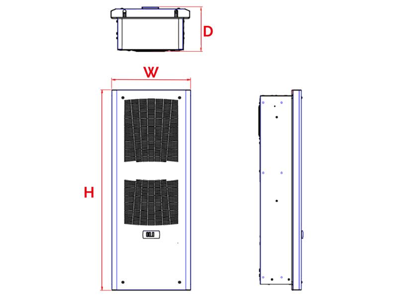Schaltschrank-Kühlgeräte SLIM IN bis 550 W Abmessungen