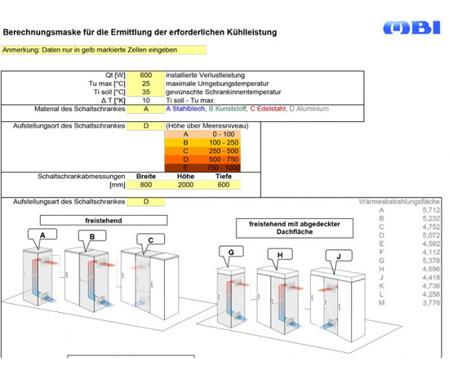 Berechnungsmaske für die Ermittlung erforderlicher Kühlleistung