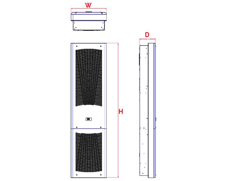 Schaltschrank-Kühlgerät SLIM IN bis 3200 W Abmessungen