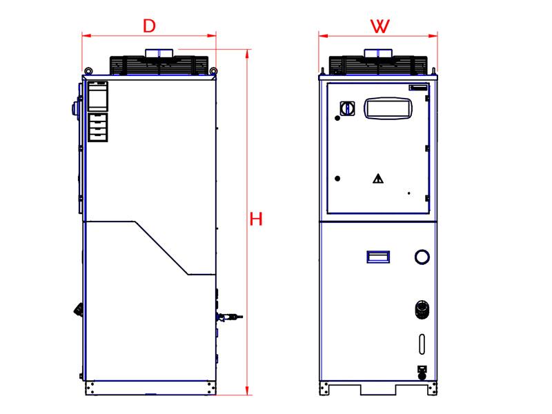 Abmessungen Serie WRI Inverter Rückkühlanlagen