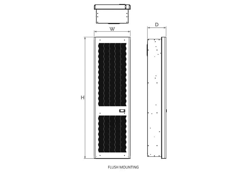 Abmessungen+Ausschnittszeichnungen für Schaltschrank-Kühlgeräte SLIM IN II