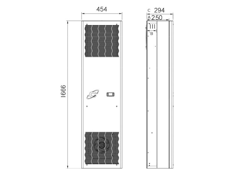 Schaltschrank-Kühlgeräte FLEX IN CDI20 -Abmessungen-