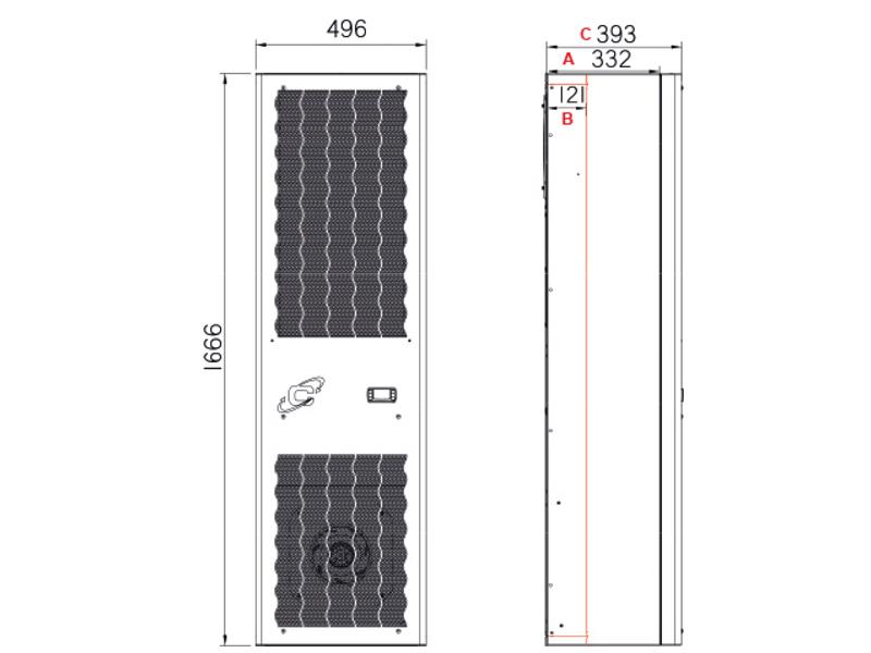 Schaltschrank-Kühlgeräte FLEX IN CDI40 -Abmessungen-